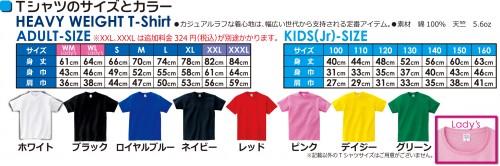 Tシャツカラーとサイズ
